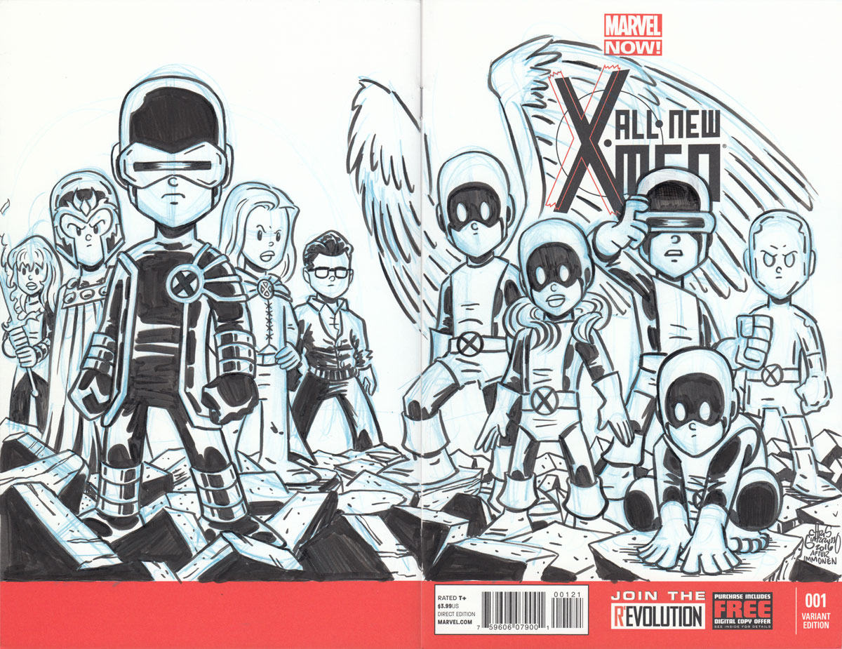 ALL NEW X-MEN #1 tribute sketch by Chris Giarrusso