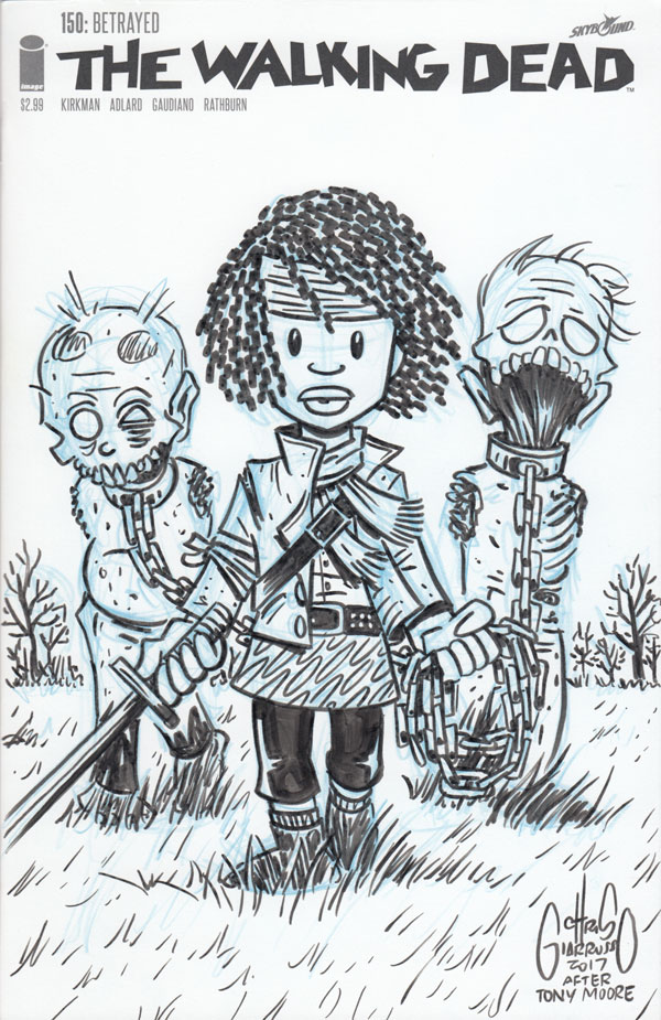 Walking Dead #19 sketch cover tribute by Chris Giarrusso