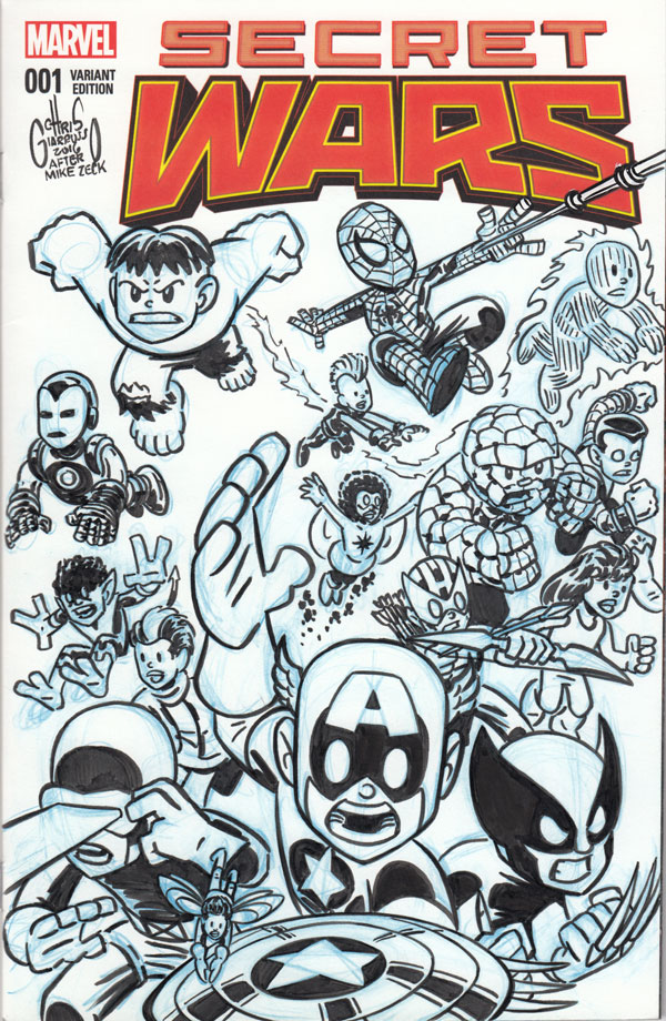SECRET WARS #1 cover tribute/homage by Chris Giarrusso