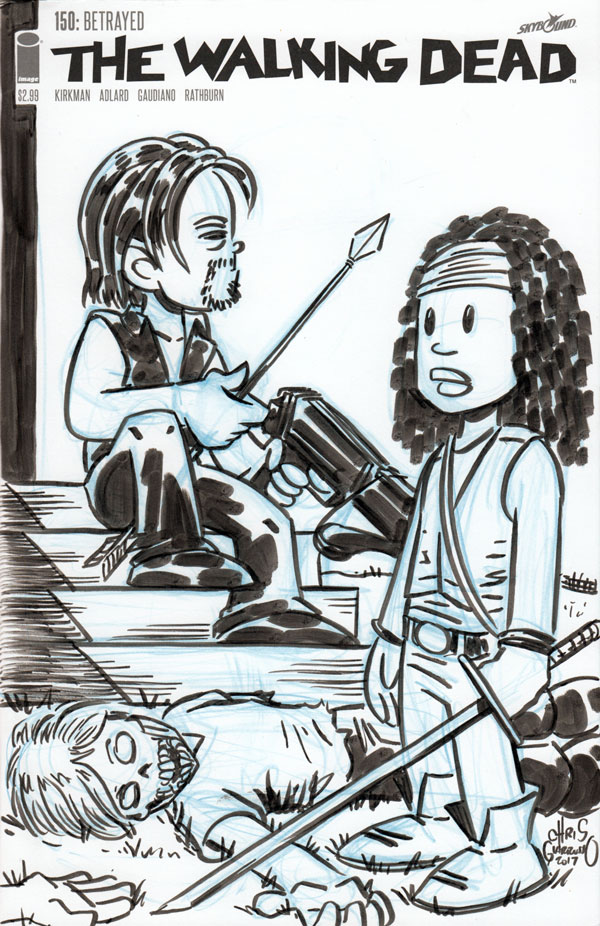 Daryl Dixon and Michonne by Chris Giarrusso