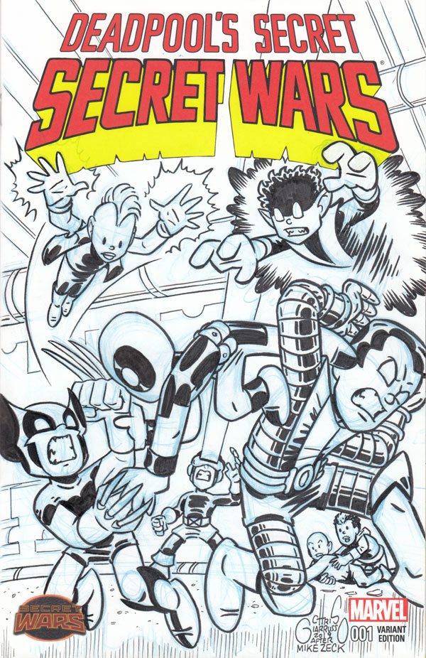 Deadpool Secret Wars 3 sketch cover by Chris Giarrusso