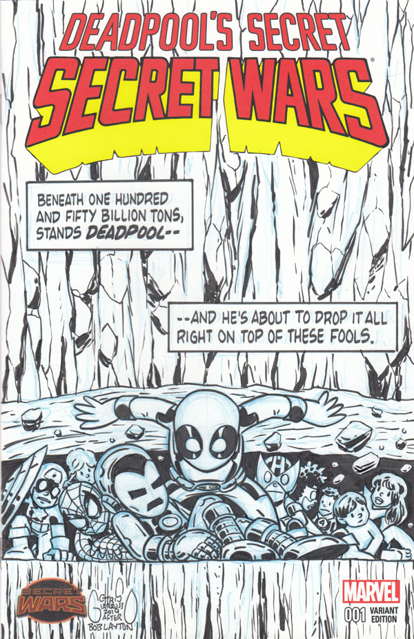 Deadpool Secret Wars 4 sketch cover by Chris Giarrusso