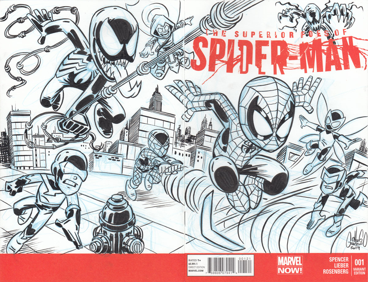 Spider-Man vs Villains sketch cover by Chris Giarrusso