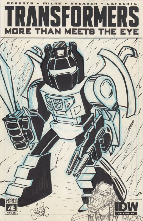 Transformers Grimlock sketch cover by Chris Giarrusso