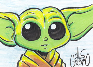 Baby Yoda sketch card by Chris Giarrusso