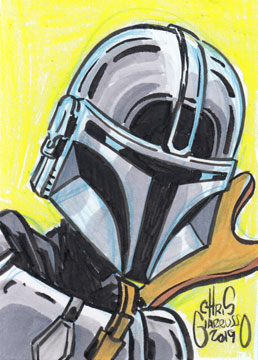 Mandolorian sketch card by Chris Giarrusso
