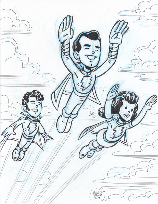 Captain Marvel family sketch by Chris Giarrusso