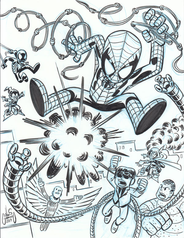 Spider-Man vs bad guys sketch by Chris Giarrusso