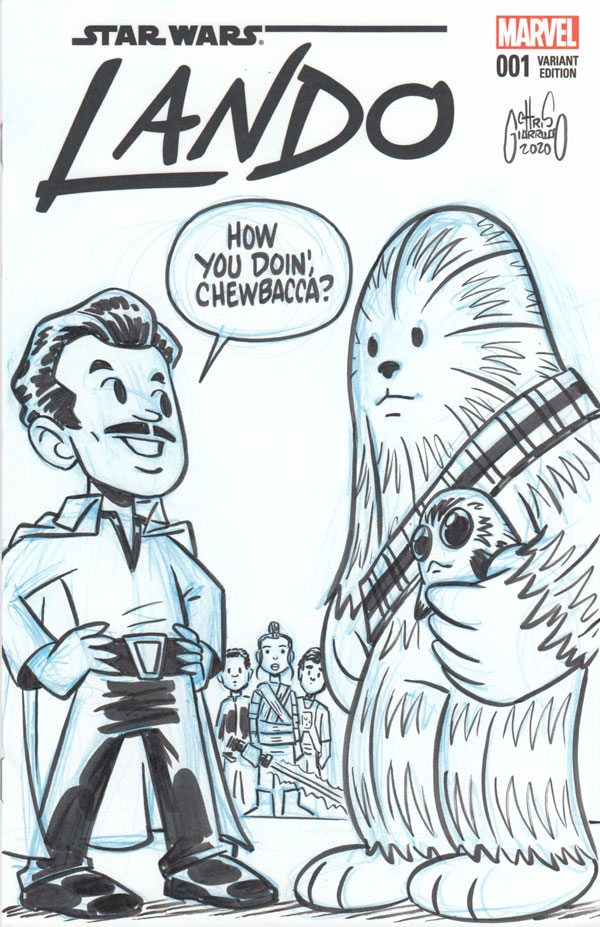 LANDO #1 sketch cover tribute by Chris Giarrusso