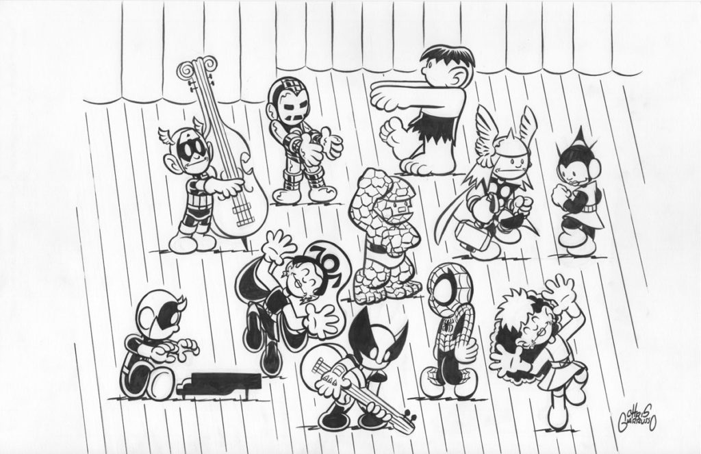 Original art for Marvel Comics Mini Marvels 2004 Holiday card by Chris Giarrusso