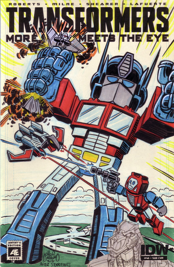 Transformers sketch cover by Chris Giarrusso