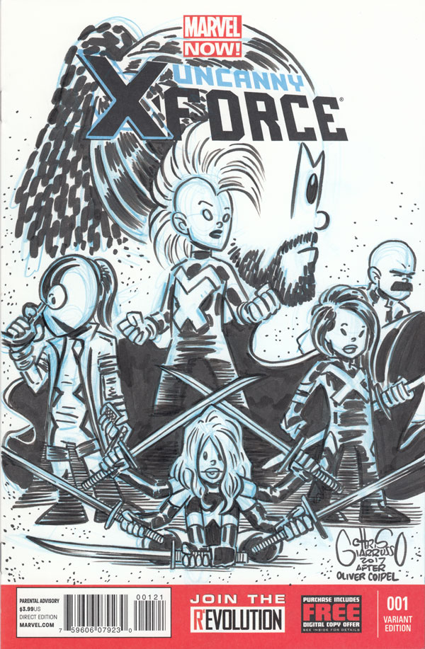 Uncanny X-Force sketch cover by Chris Giarrusso