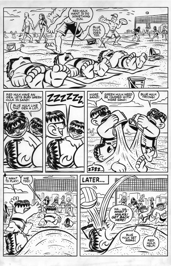 Hulk Beach original published art by Chris Giarrusso