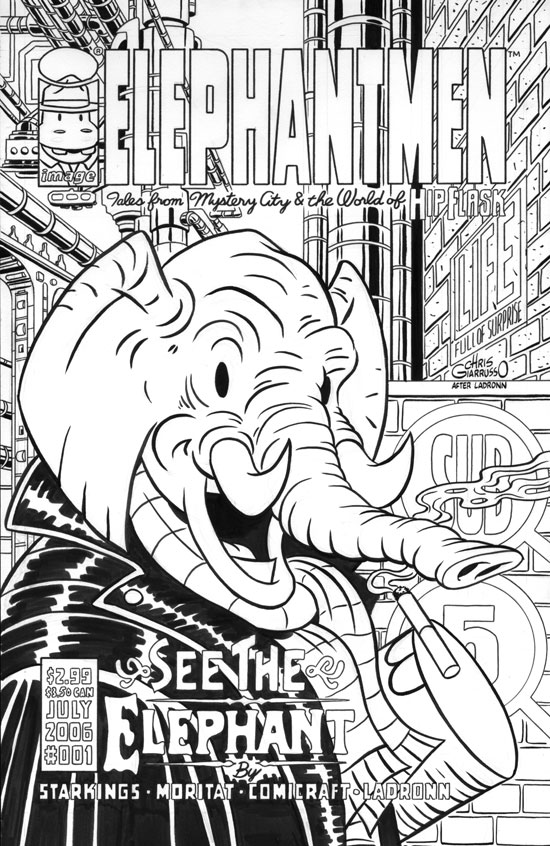 Original art by Chris Giarrusso, Image Elephantmen Variant Cover