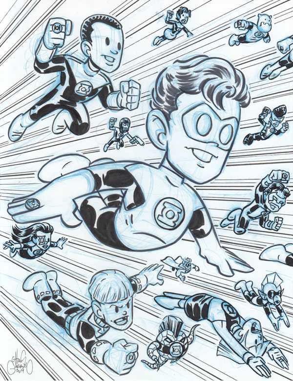 Green Lantern Corps sketch by Chris Giarrusso