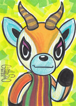 Animal Crossing Lopez sketch card by Chris Giarrusso