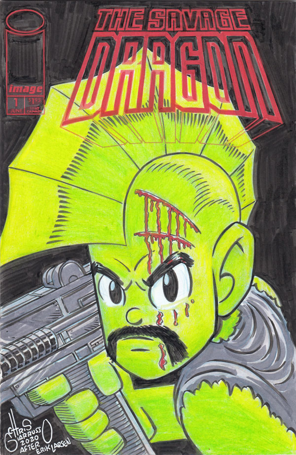 SAVAGE DRAGON #1 custom sketch cover by Chris Giarrusso
