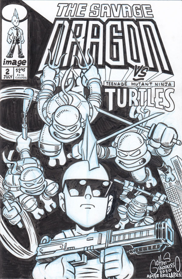 SAVAGE DRAGON #2 custom sketch cover by Chris Giarrusso