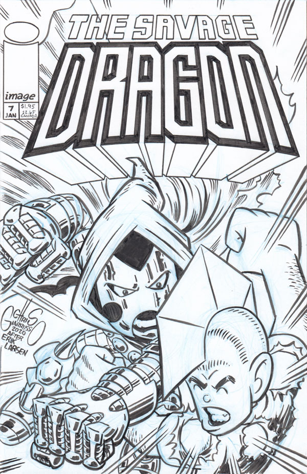 SAVAGE DRAGON #7 custom sketch cover by Chris Giarrusso